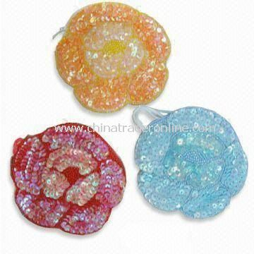 Fashionable Coin Purses in Flower Shape, Available in Various Colors, Made of Sequin from China