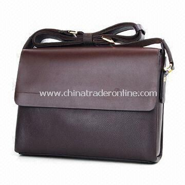 Leather Briefcase with Comfortable Shoulder Strap and One Main Compartment