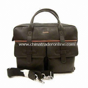 Leather Top-zip Briefcase with Adjustable Shoulder Strap and Magnetic Closure