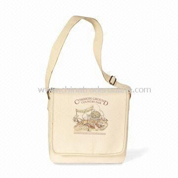 Organic Cotton Messenger Bag, Made from 100% Organic Cotton Fabric from China