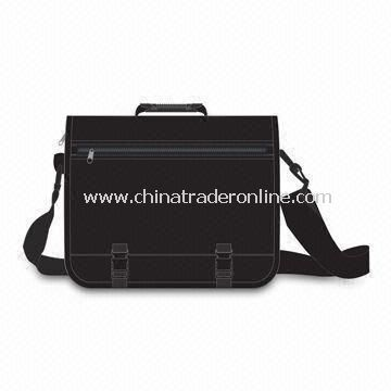 Polyester Briefcase with Adjustable Shoulder Strap and Zipper Pocket on Flap