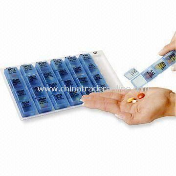Push-button Medicine Pill Box, Made of Plastic, OEM Designs are Welcome
