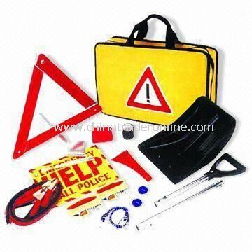 Roadside Tool Set with Collapsible Shovel, Electric Tape, First-aid Kit and Help Sign