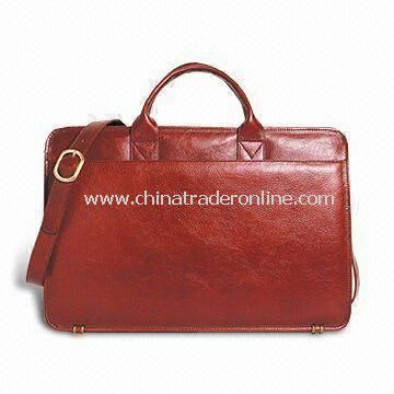 Slim Leather Top Zip Briefcase with Adjustable Shoulder Strap