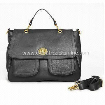 Synthetic Leather Briefcase with Comfortable Shoulder Strap and Logo Printing on One-side