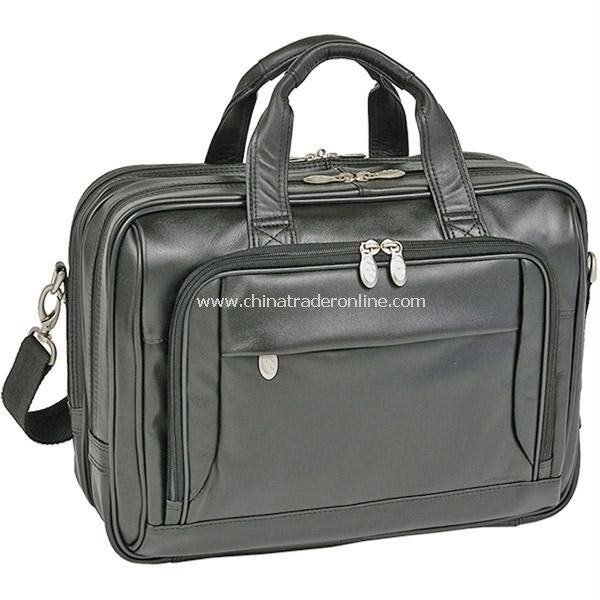West Loop Black Leather Expandable Double Compartment Briefcase