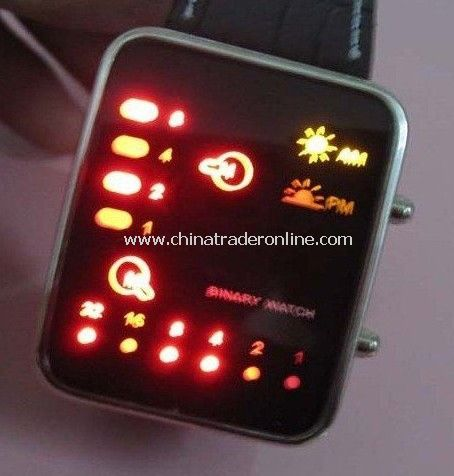 Fashion Multicolor Binary LED Watch - Red + Yellow Binary LED Watch - LED-WATCH , leather band 50pcs/lot