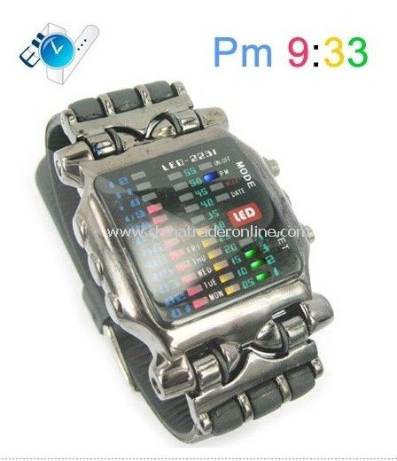 Fashionable Rubber Strap LED Watch with Colorful Lighting Display