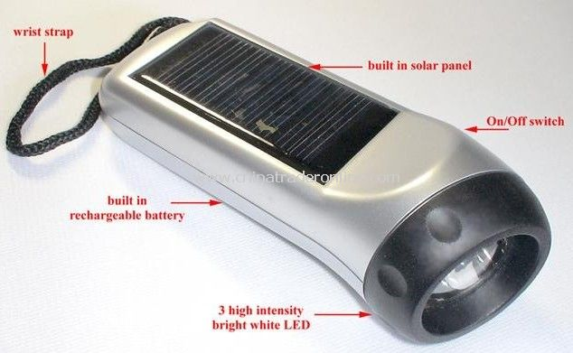 Solar Power 3 LED Flashlight Keychain Torch Light