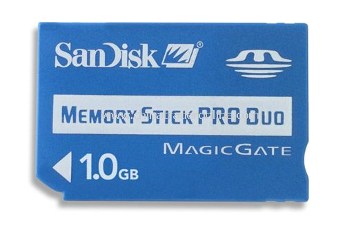 SanDisk 1GB Memory Stick Pro Duo (MS Pro Duo) Flash Media SDMSPD-1024-A10 with Adapter