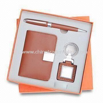 3-piece Stationery Gift Set, Equipped with Name Card Holder, Ballpen, and Keychain in Tin Gift Box