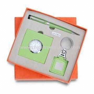 3-piece Stationery Gift Set with Alarm Clock, Keychain and Mirror, Small Orders are Welcome