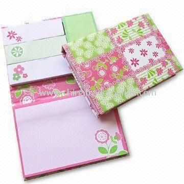 Hard Cover Sticky Note Pad Set in Various Sizes, Stationery Set for Company and School Children