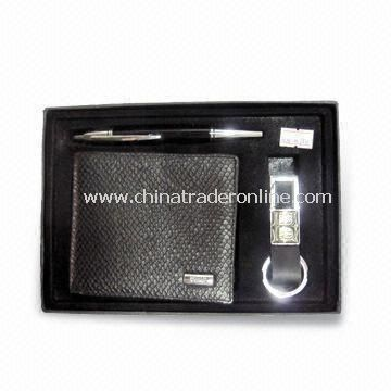 Leather Wallet Set, Suitable for Promotional and Gift Purposes, Includes Pen, Keychain