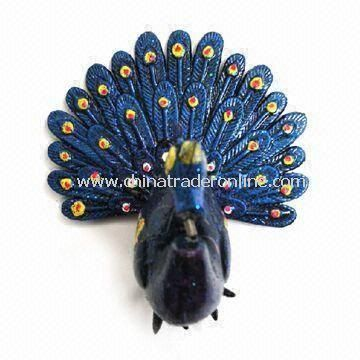 Peacock Refrigerator Magnet with Spring in Limbs, Suitable for Promotions