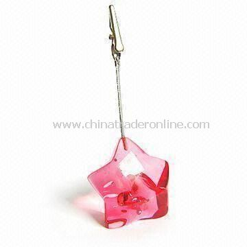 Pink Memo Holder in Star Design, Made of ABS Material, Measures 10 to 12cm