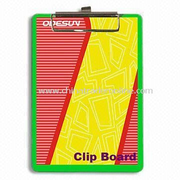 Plastic Clip Board with Metal Clip, Available in Different Sizes