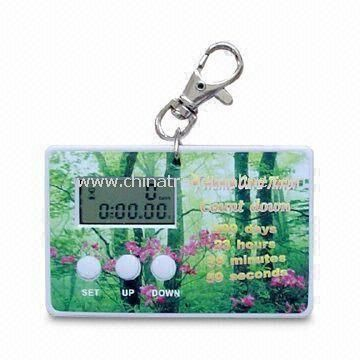 Promotional Digital Count Down Timer with Magnet, Made of Plastic, Large Space for Printing