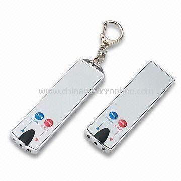 Promotional Keychain Card with 2-piece LED Light, Available in Silver and White from China