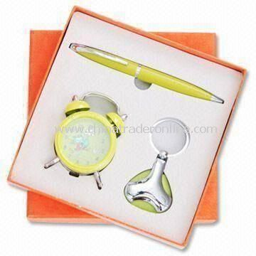 Stationery Gift Set, Includes Alarm Clock, Keychain, and Ballpen, Suitable for Promotional Purposes