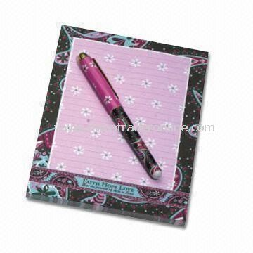 Sticky Note Pad with Pen, Made of 210gsm Cardboard, Available in Various Sizes from China