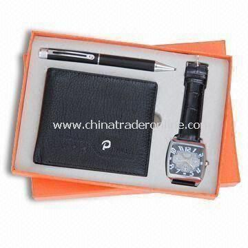 Three-piece Promotional Stationery Gift Set, Includes Wallet, Ballpen, and Watch