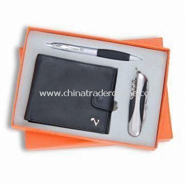 Three-piece Stationery Gift Set, Includes Wallet, Ball Pen and Knife, Small Orders are Accepted