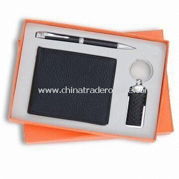 Three-piece Stationery Gift Set for Promotional Purpose, Includes Wallet, Ball Pen and Keychain