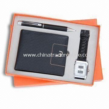 Three-piece Stationery Gift Set for Promotional Purposes, Includes Ball Pen, Wallet and Watch