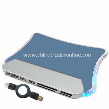 USB LED Light Mouse Pad with USB Hub and Card Reader, for Gift/Promotional Item