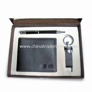 Wallet Set, Suitable for Promotional and Gift Purposes, Made of Leather, Includes Pen, Keychain