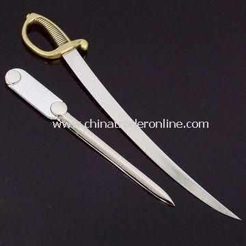 Zinc Alloy Letter Opener, Available in Nickel-free, Pearlized Nickel, and Anti-copper Plating from China