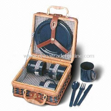 24 x 24 x 13cm Picnic Basket Set Made of Wicker or Willow, Includes Four Plates and Spoons