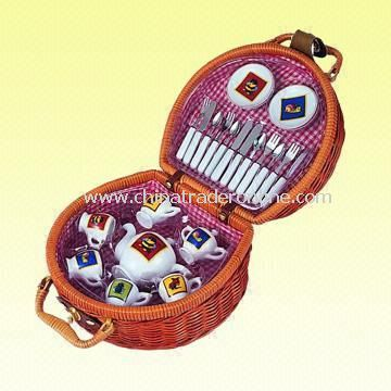 25-Piece Picnic Set Packed in Brown Basket