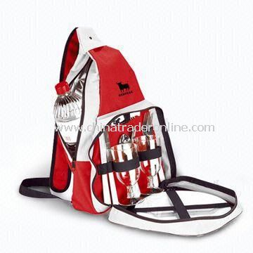 Camping Set Composed of Picnic Backpack, Stainless Steel Fork, Spoon and Wine Cup