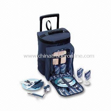 Family Picnic Trolley Bags with 4 Set Cultery and 4 Pieces of Melamine Plates