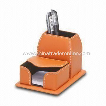 Leather Desk Memo Pad Box with Pen Stand, Made of PU/PVC, Measures 16.5 x 11.1 x 10.5cm