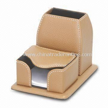 Leather Desk Notepad Box with Pen Stand, Made of PU/PVC Material, Sized 16.5 x 11.1 x 10.5cm
