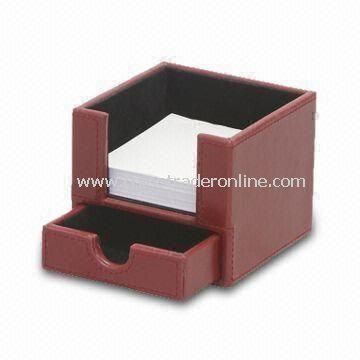 Leather Memo/Desk Pad Box, Made of PU/Leather, Export Leather Goods, Stock/Desk Pen Stand Set