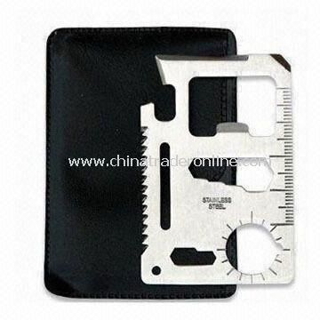 Multi-function Outdoor Survival Card Tool with PVC Pouch, Measures 7 x 4.5 x 0.2cm
