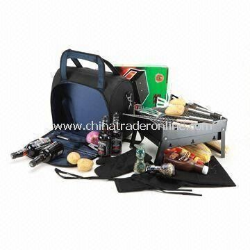 Picnic Cooler Bag with BBQ Set, 600D Polyester Fabric and White PEVA Lining