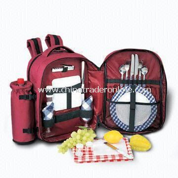 Picnic Cutlery Set, Composed of Backpack, Stainless Steel Fork, Spoon and Wine Cup