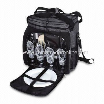 Shoulder Picnic Bag with Four Sets Picnic Cutlery and Carry Handles