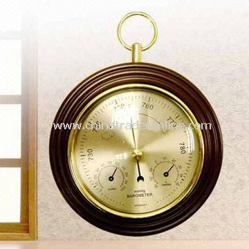 Wooden Weather Station with Thermometer, Barometer and Hygrometer, Suitable for Promotions