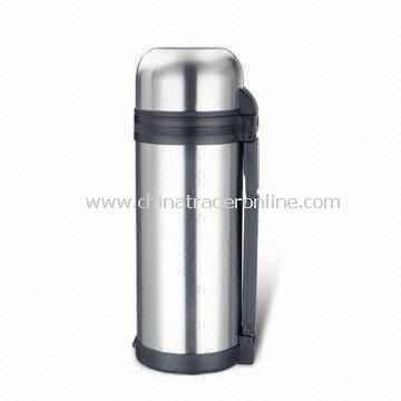1,500mL Vacuum Flask with Plastic Cup and Removable Carrying Belt, Made of Stainless Steel