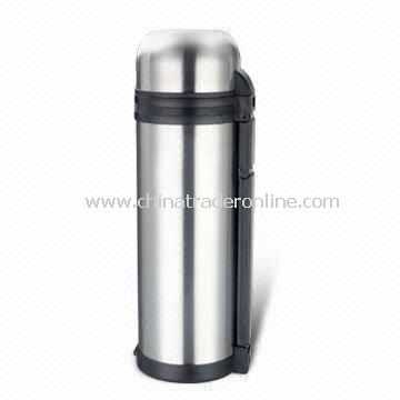 1,800mL Vacuum Flask with Plastic Cup and Removable Carrying Belt, Made of Stainless Steel