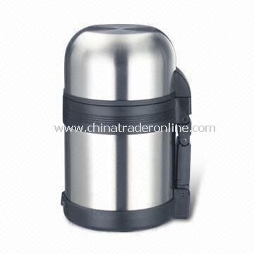 18/8 Stainless Steel Vacuum Flask with 600mL Capacity, Plastic Cup and Removable Carrying Belt
