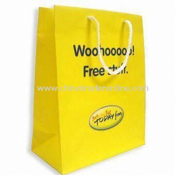 Art Paper Bag with Matte Lamination, Various Sizes and Printed Designs are Available