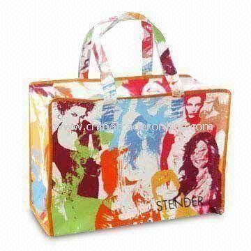 Color Printed PP Woven Bag with Webbing Handles, Suitable for Gifts and Promotions
