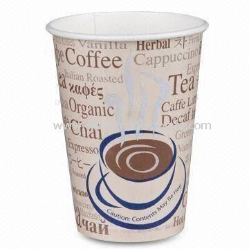 Disposable Paper Cup, Ideal for Hot Drinks, with Single Wall, Double PE, and Flexo Two-color Prints